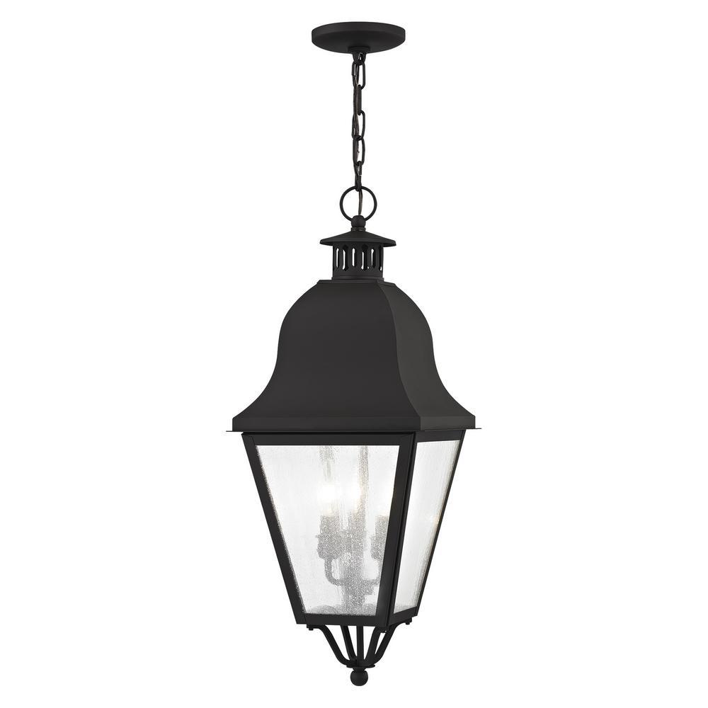 Amwell 3-Light Black Outdoor Pendant Light
