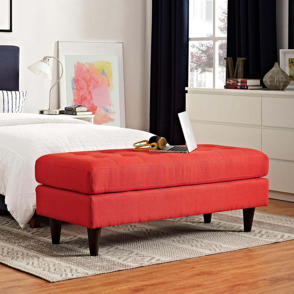 Empress Upholstered Fabric Bench in Atomic Red