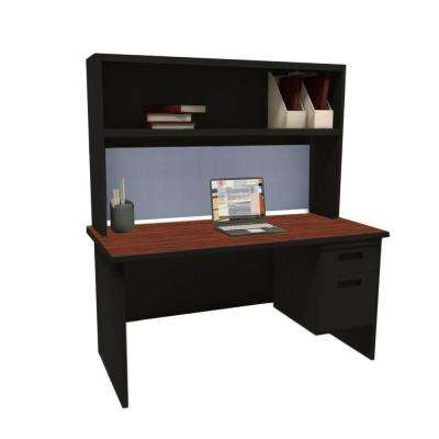 Black and Mahogany Basin 60 in. Single File Desk with Storage Shelf
