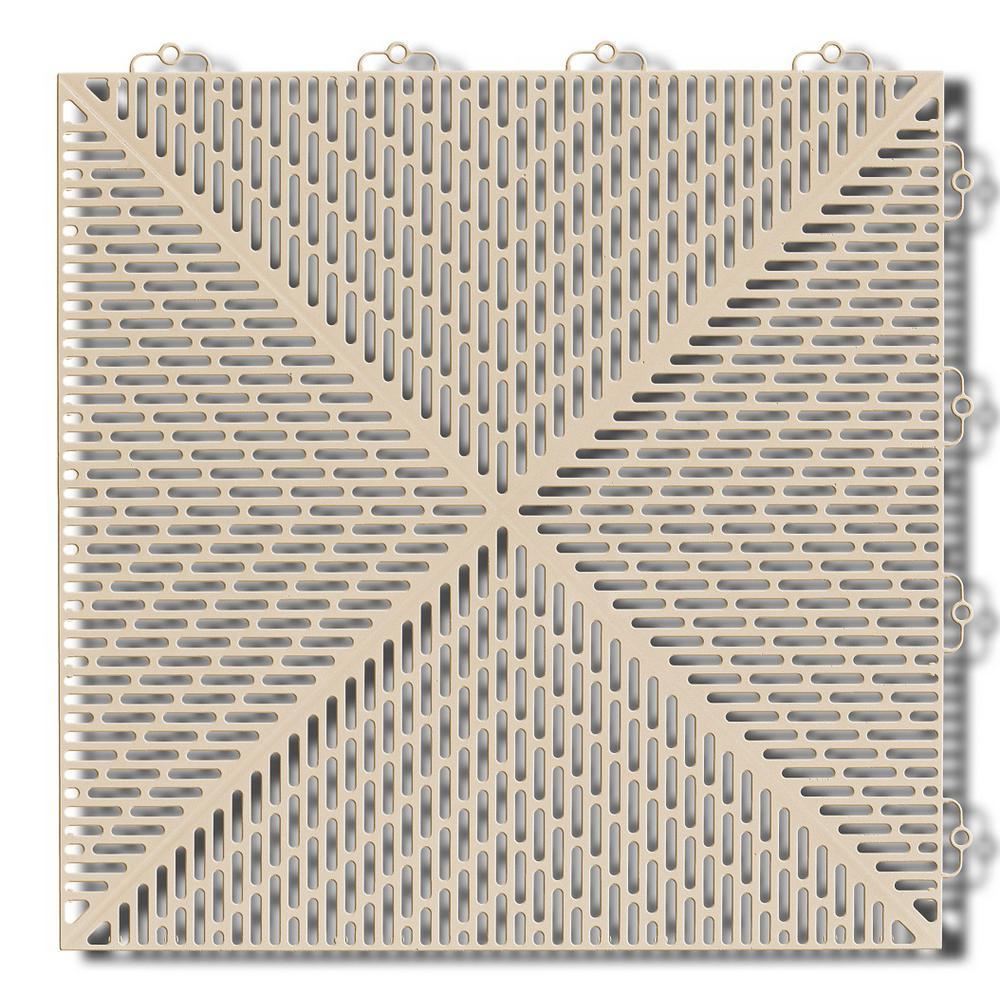 Soft 1.24 ft. x 1.24 ft. Polyethylene Interlocking Deck Tiles in Sand (16-per case/24.64 sq. ft.)