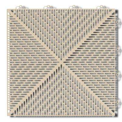 Soft 1.24 ft. x 1.24 ft. Polyethylene Interlocking Deck Tiles in Sand (16-per case/24.64 sq. ft.)