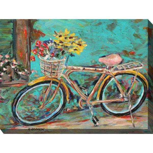 30 In X 40 In Teal Bicycle Outdoor Canvas Art