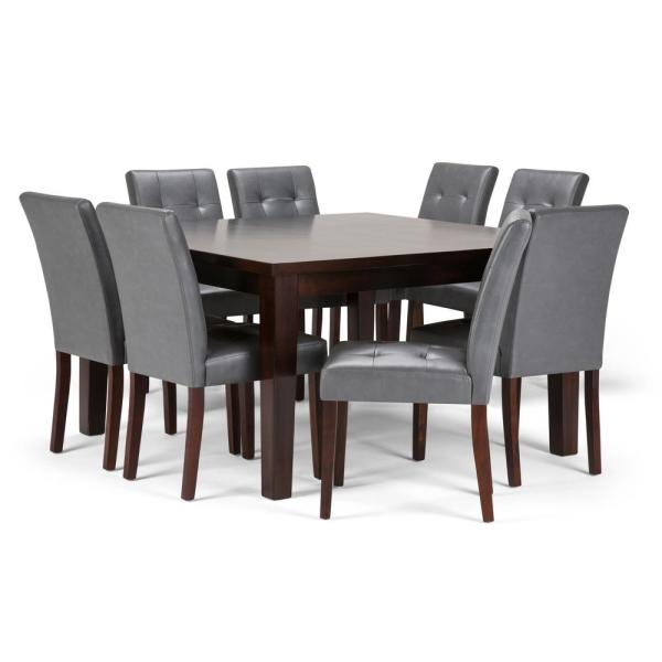 Simpli Home Andover 9 Piece Dining Set With 8 Upholstered Dining Chairs In Stone Grey Faux Leather And 54 In Wide Table Axcds9an G The Home Depot