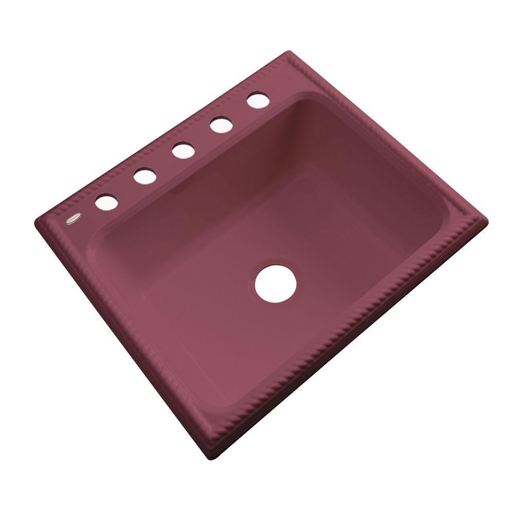 Thermocast Wentworth Drop-In Acrylic 25 in. 5-Hole Single Bowl Kitchen Sink in Raspberry Puree