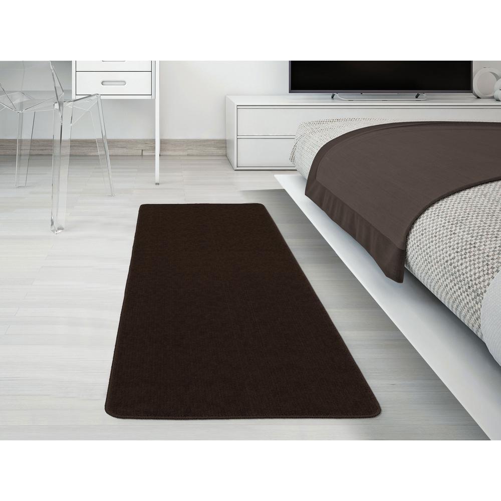 Ottomanson Solid Design Brown 1 ft. 8 in. x 4 ft. 11 in. Non-Slip Bathroom Rug Runner