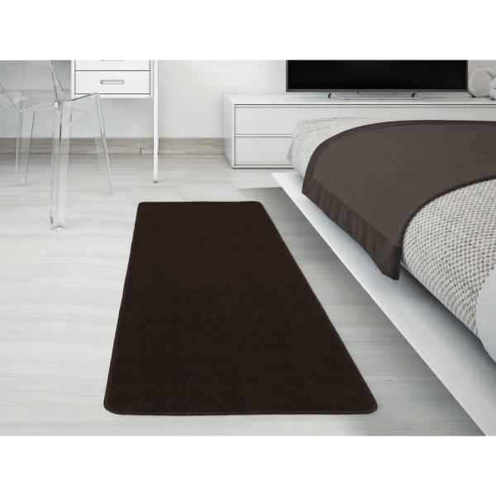 Solid Design Brown 1 ft. 8 in. x 4 ft. 11 in. Non-Slip Bathroom Rug Runner