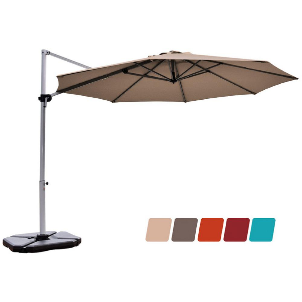 Costway 11 Ft Aluminum Cantilever Tilt Half 360 Degrees Rotation Patio Umbrella In Tan Op70234tn The Home Depot