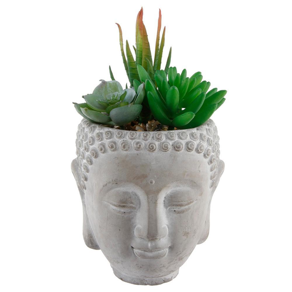 Worth Imports Terra Cotta 6 Faux Succulent Plants in Round Ceramic Vase