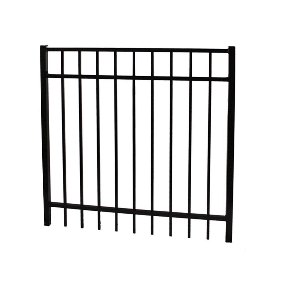 Vinnings 5 ft. W x 4 ft. H Black Aluminum Fence Gate