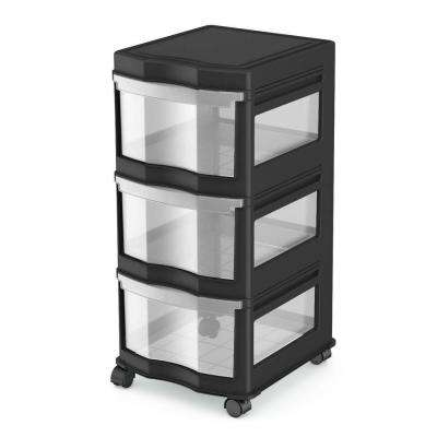 Classic 27.75 in. H x 13.2 in. W x 15.5 in. D 3 Shelf Standing Plastic Storage Organizer and Drawers Black