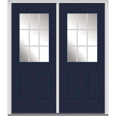 60 in. x 80 in. White Internal Grilles Left-Hand Inswing 1/2-Lite Clear Glass 2-Panel Painted Steel Prehung Front Door