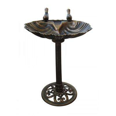 Bronze Birdbath with 2 Birds