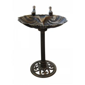 Alpine Bronze Birdbath with 2 Birds by Alpine