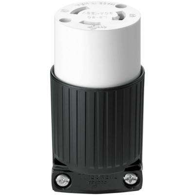 30 Amp 125-Volt Hart-Lock Industrial Grade Connector, Black and White