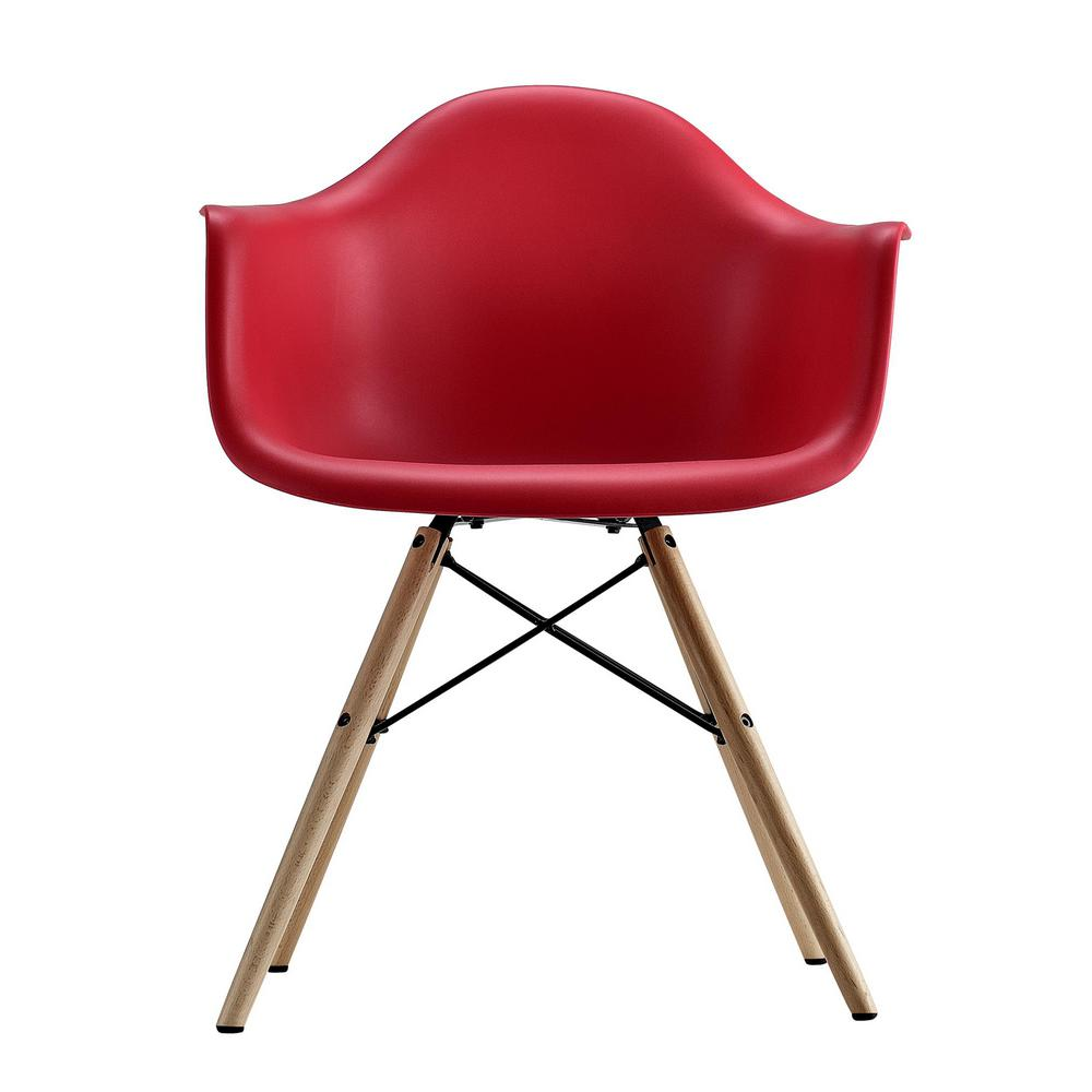 Dhp harper red mid century modern molded arm chair with