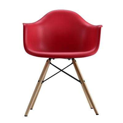 Harper Red Mid Century Modern Molded Arm Chair with Wood Leg