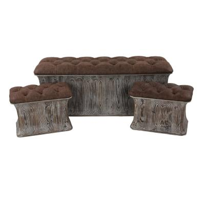Mocha Brown Faux Leather Cushioned Storage Benches (Set of 3)