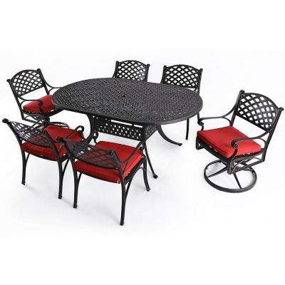 7-Piece Aluminum Outdoor Dining Set with Red Cushion