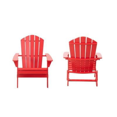 Classic Ruby Red Folding Wooden Adirondack Chair (2-Pack)