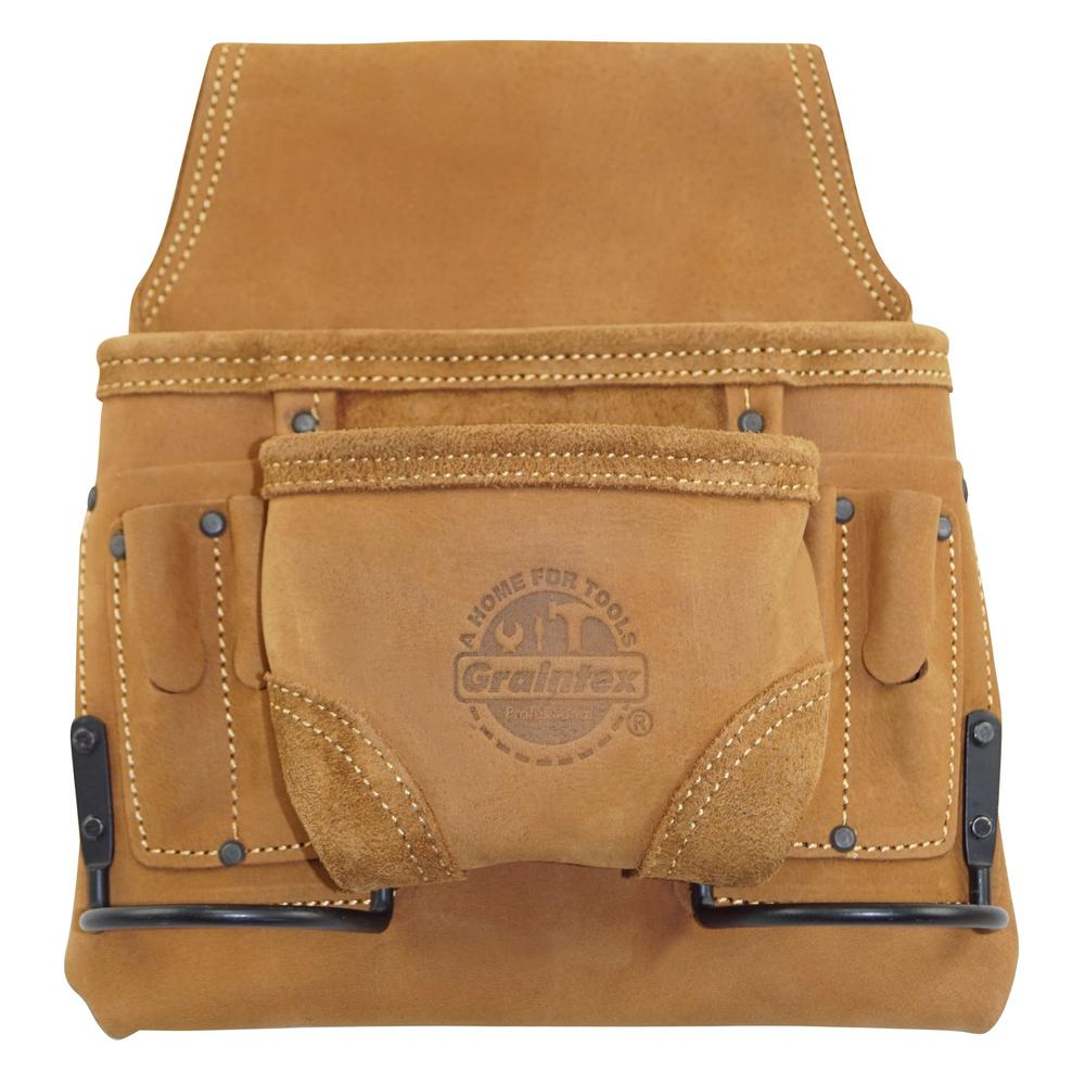 4 Pocket Oil Tanned Leather Tool Pouch Bag