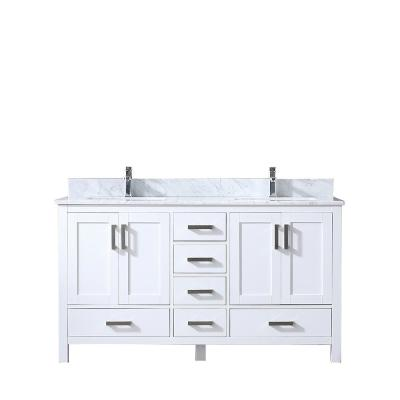 Jacques 60 in. Double Vanity White, White Carrera Marble Top, White Square Sinks and no Mirror