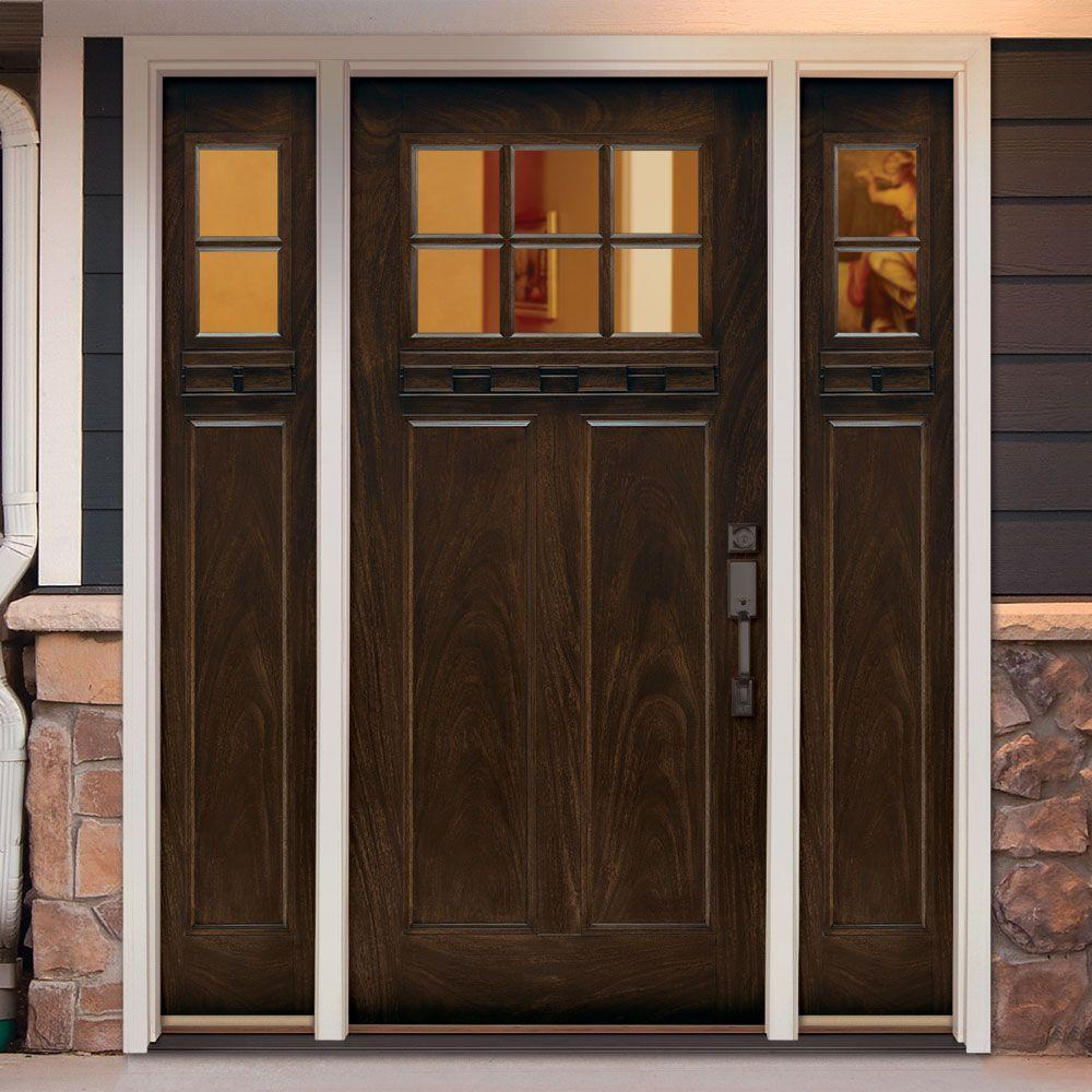 Feather River Doors 63 5 In X81 625 6 Lt Clear Craftsman Stained Chestnut Mahogany Right Hand Fibergl Prehung Front Door W Sidelites