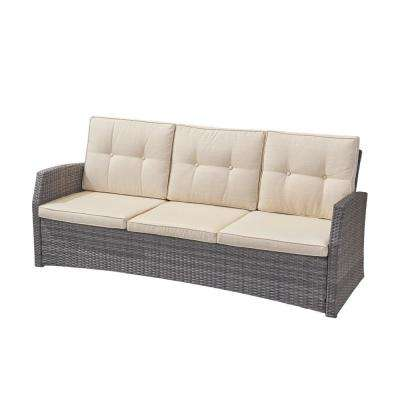 Sanger Gray Wicker Outdoor Sofa with Beige Cushions