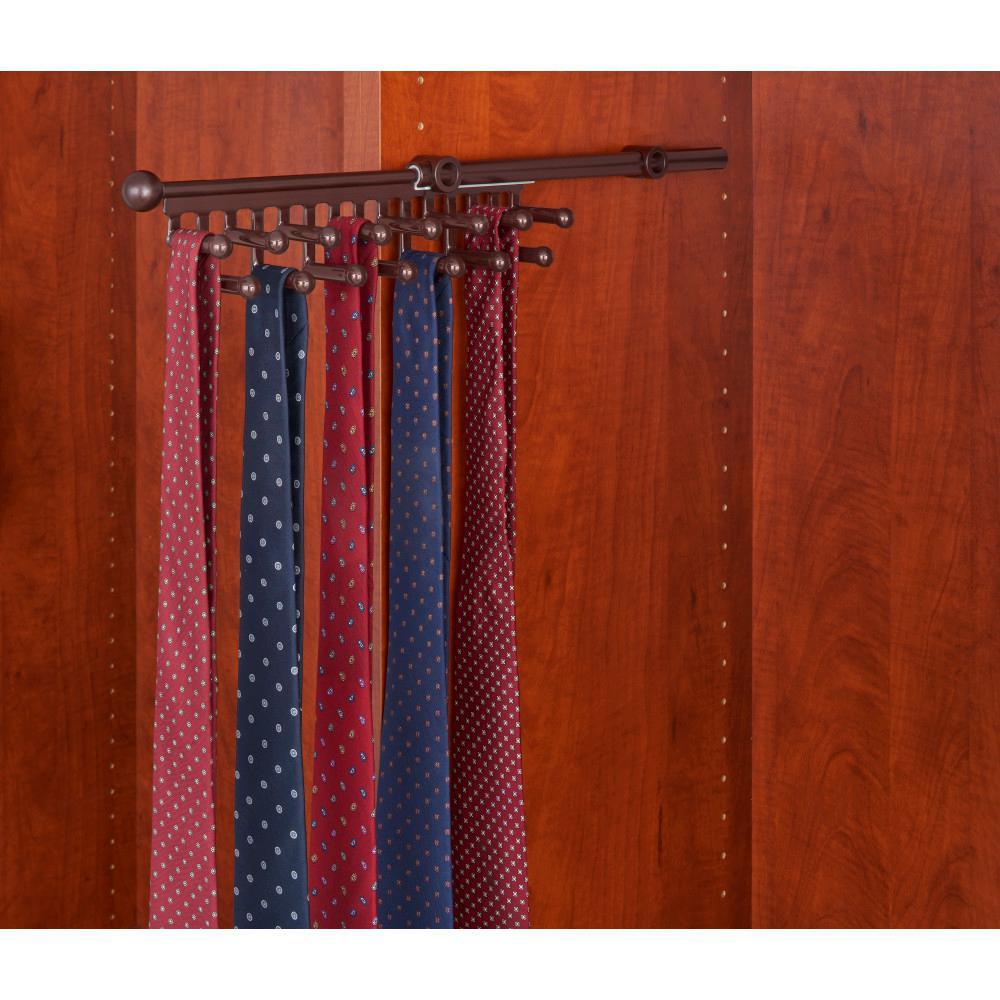 3 in. H x 3 in. W x 11.875 in. D Oil Rubbed Bronze Pull-Out 7-Hook Tie/Scarf Rack