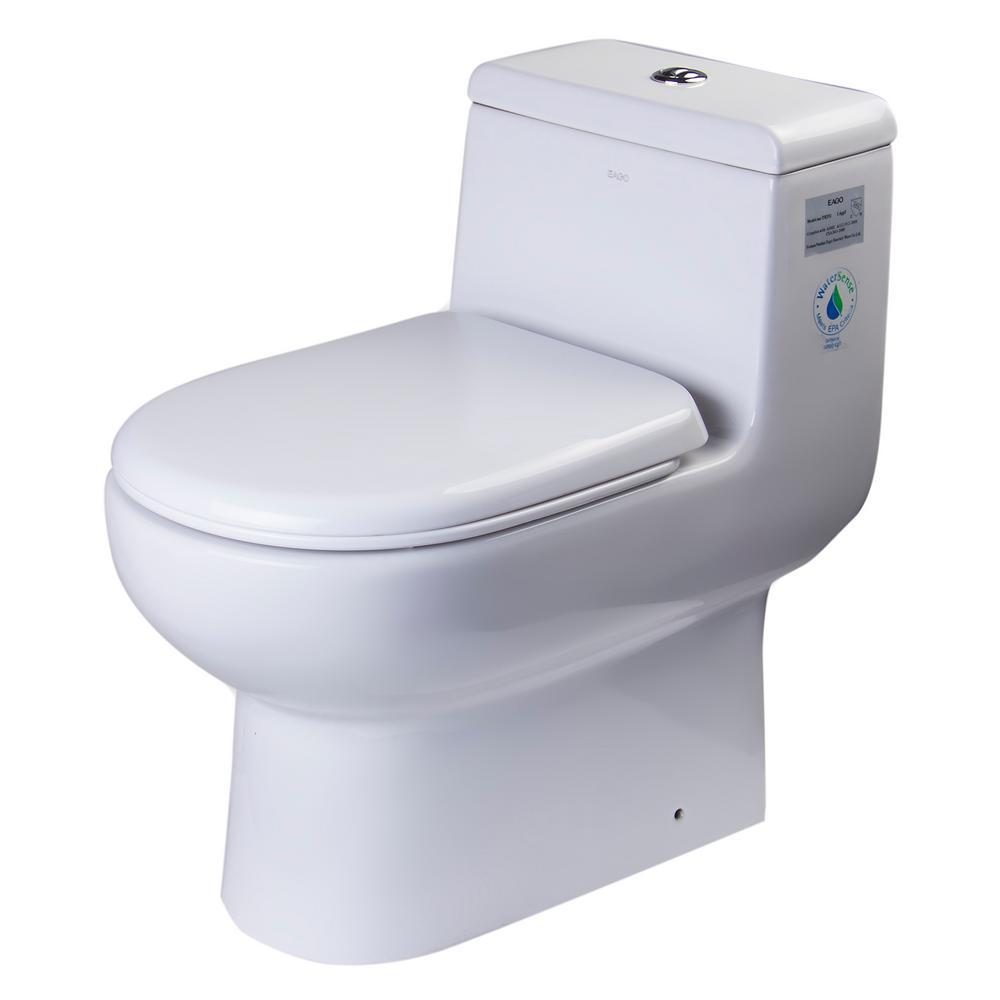 EAGO 1-Piece 0.8/1.28 GPF Dual Flush Elongated Toilet in White by EAGO