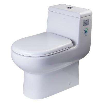 1-Piece 0.8/1.28 GPF Dual Flush Elongated Toilet in White