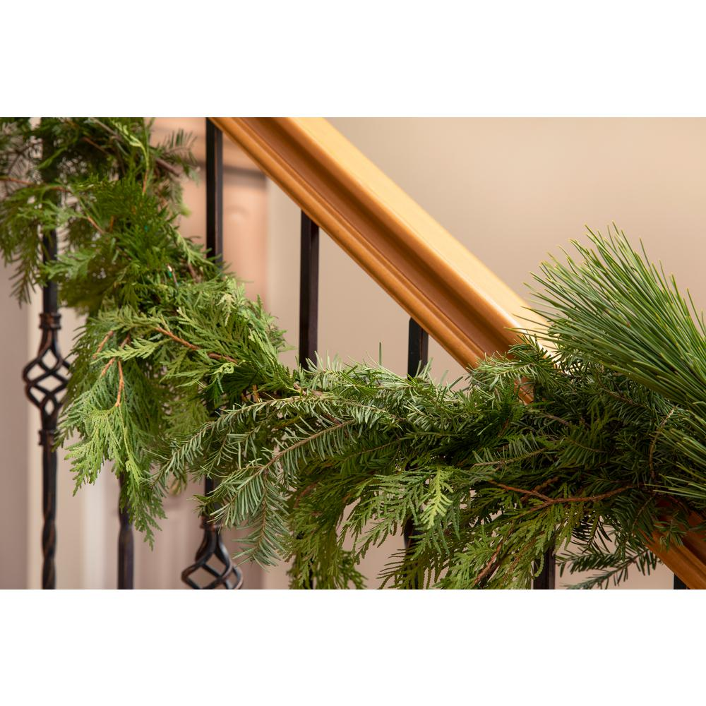 ProvenWinners Proven Winners 15 ft. Live Roping Garland, Fresh Cut Mixed Greens, Holiday Decor