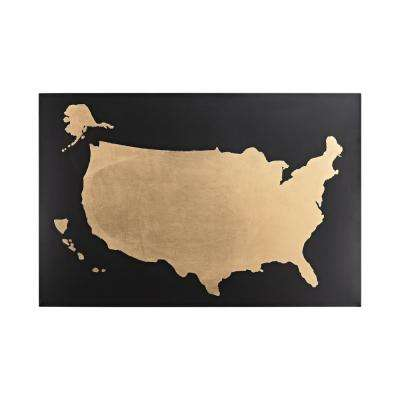 US Map Metal in Gold and Black Wall Decor