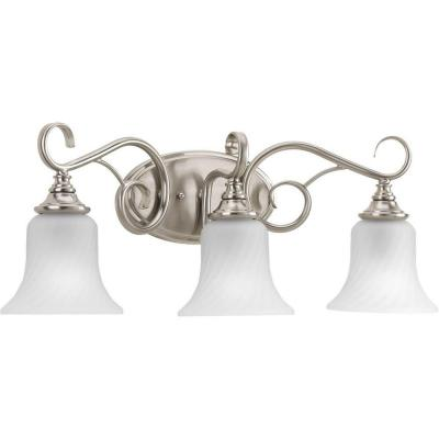 Kensington Collection 24.13 in. 3-Light Brushed Nickel Bathroom Vanity Light with Glass Shades