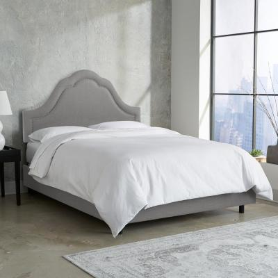 Max Linen Grey  Twin Arch Inset Bed with Pewter Nail Buttons