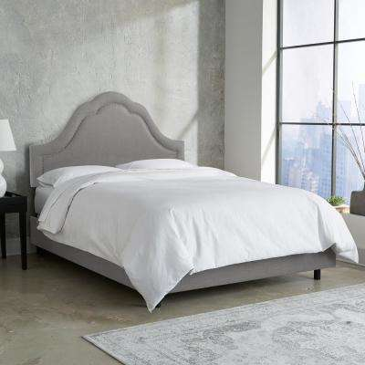 Linen Grey Twin Arch Inset Nail Button Bed
