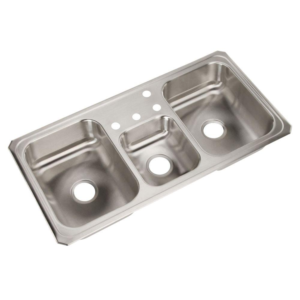 Elkay Celebrity Drop-In Stainless Steel 43 in. 4-Hole Triple Bowl Kitchen Sink
