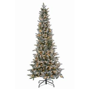 6.5 ft. Pre-Lit Lightly Flocked Canyon Fir Christmas Tree