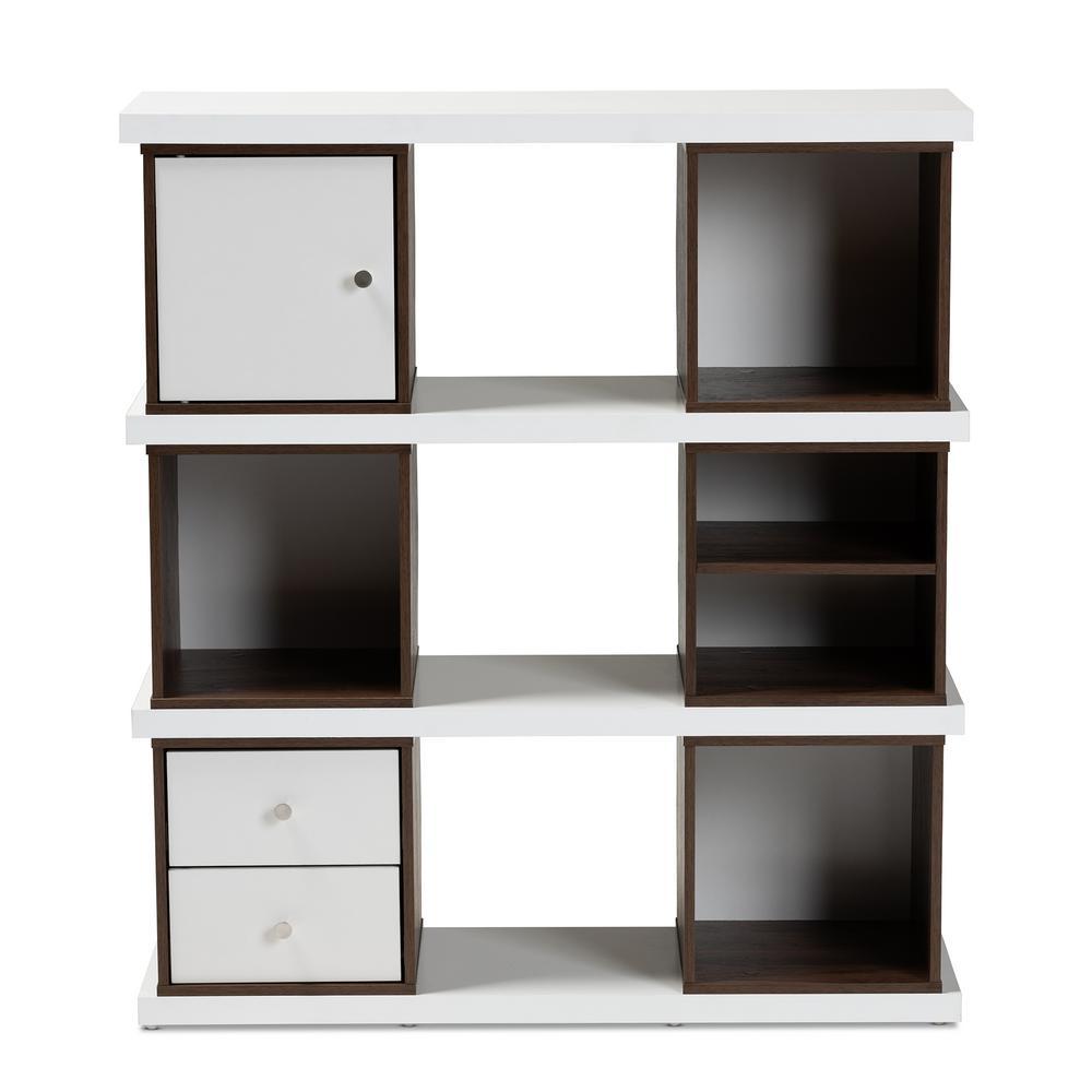 Rune White and Walnut Bookcase