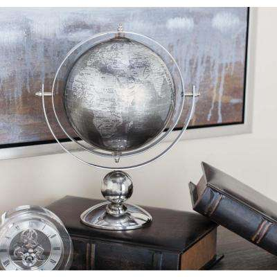 11 in. Modern Polished Stainless Steel and Plastic Globe