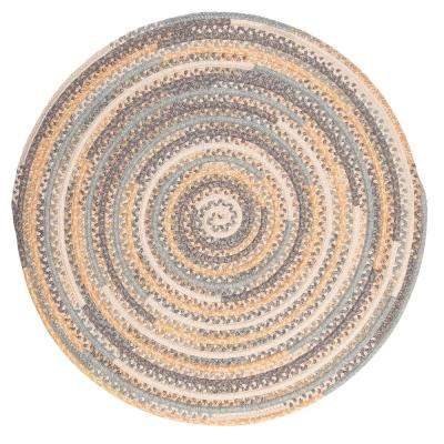 Monica Shaded Yellow 8 ft. x 8 ft. Round Braided Area Rug