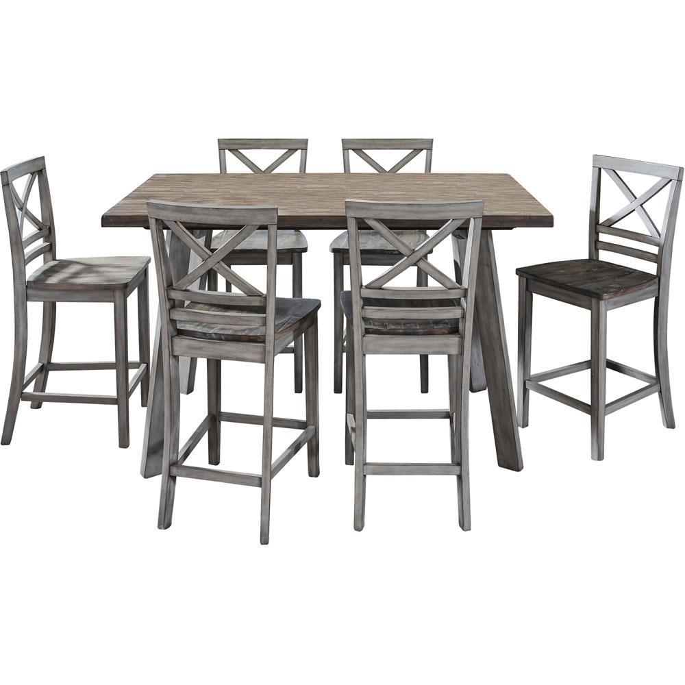 Garden Grove Gray 7-Piece Counter-Height Wood Dining Set
