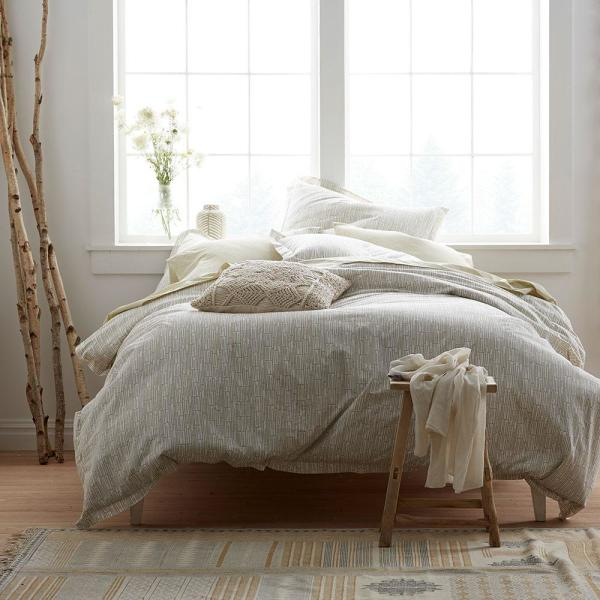 Bamboo Taupe Geometric Organic Cotton Percale Queen Duvet Cover