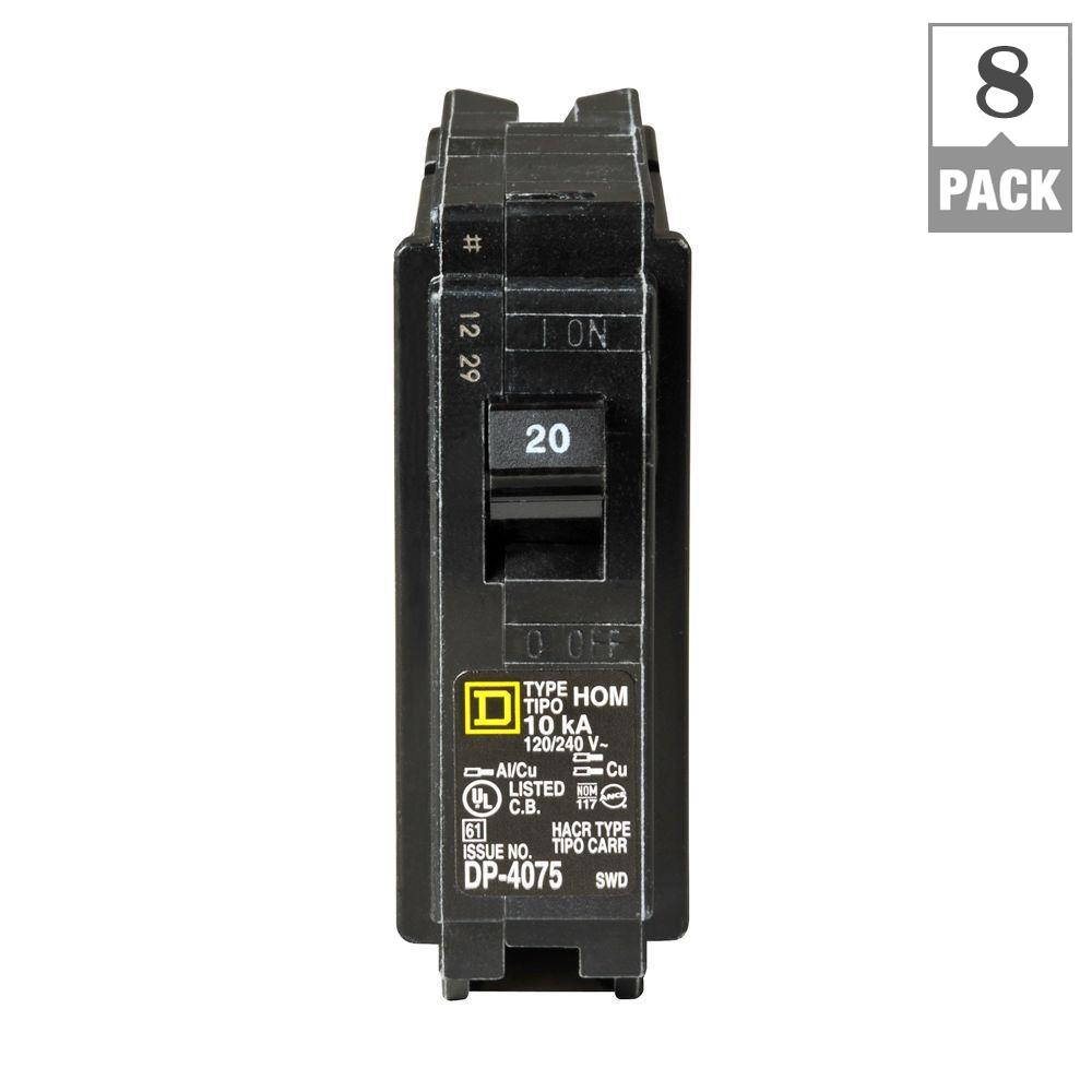 Square D Homeline 20 Amp Single Pole Plug On Neutral Dual Function How To Tell If A Circuit Breaker Is Bad Basics 8 Pack