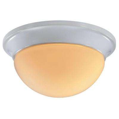 9 in. 1-Light White Flushmount with Round White Glass Shade