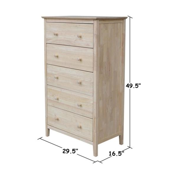 Brooklyn 5 Drawer Unfinished Wood Chest
