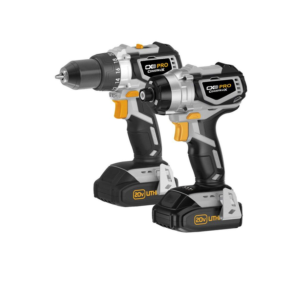 CX 20-Volt Brushless Drill and Impact Driver Combo Kit with 2.0 Ah Lithium-ion Batteries, and 1- Hour Charger