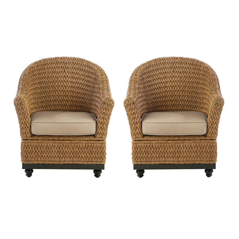 Home Decorators Collection Camden Light Brown Seagrass Wicker Outdoor Porch Lounge Chair with Sunbrella Beige Tan Cushions (2-Pack) was $599.0 now $479.0 (20.0% off)