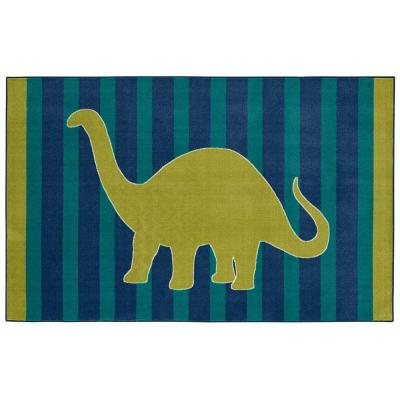 Friendly Dinosaur Blue 5 ft. x 8 ft. Indoor Area Rug