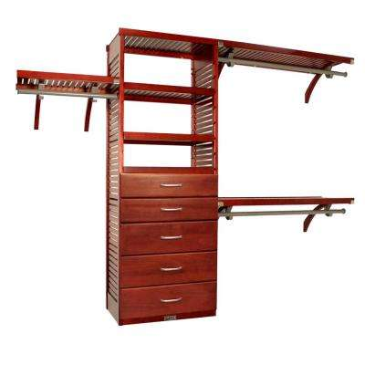 16 in. Deep Deluxe Closet System with 5 Drawers (6 in. and 8 in. Deep) Red Mahogany