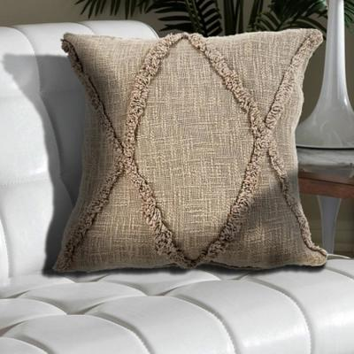 Understated Taupe Solid Hypoallergenic Polyester 20 in. x 20 in. Throw Pillow